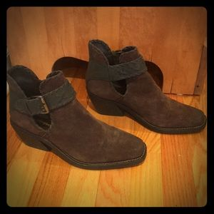Jeffrey Campbell Brown Leather Nubuck Booties
